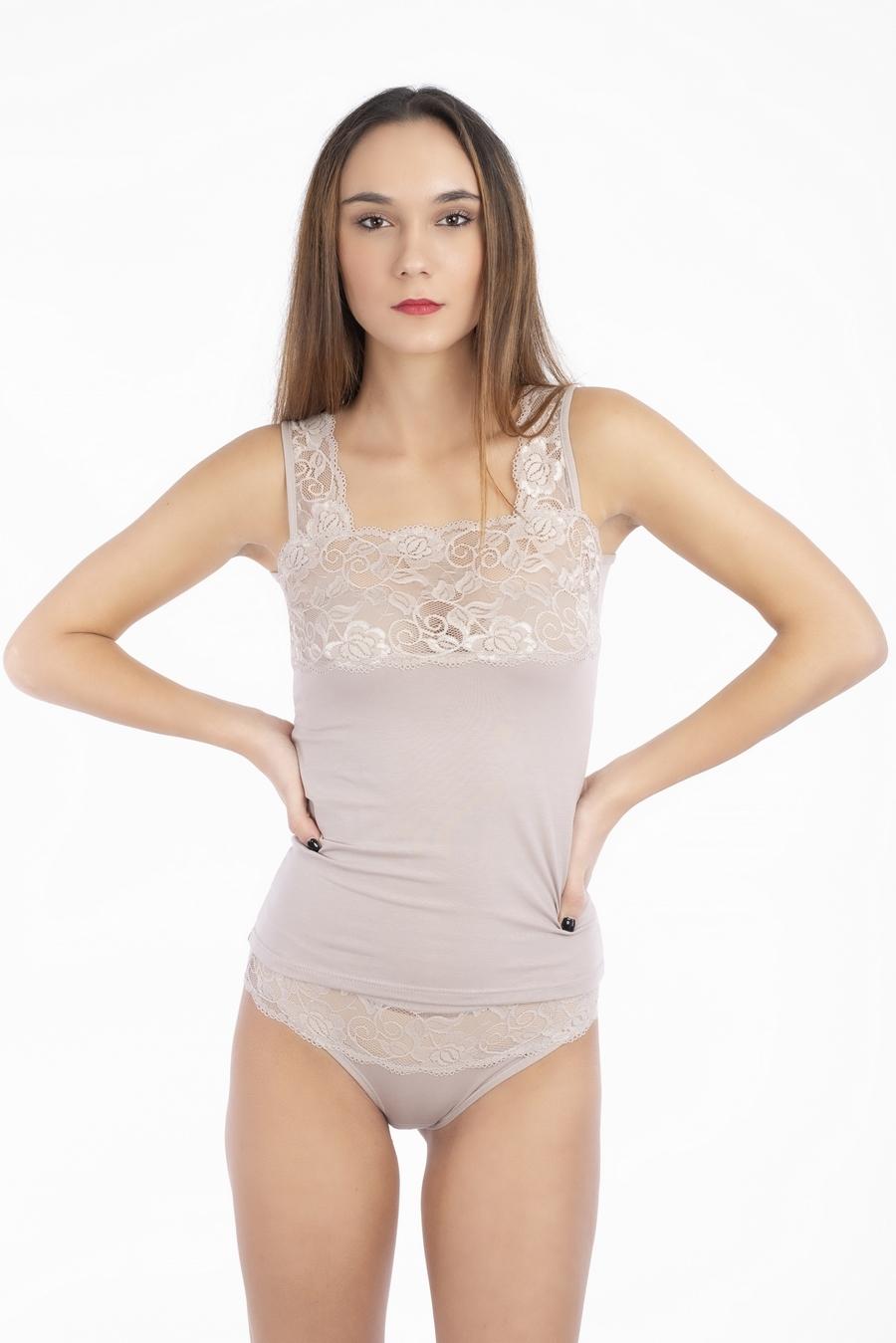 Canotta donna spalla larga in cotone modal con spalla e top in pizzo