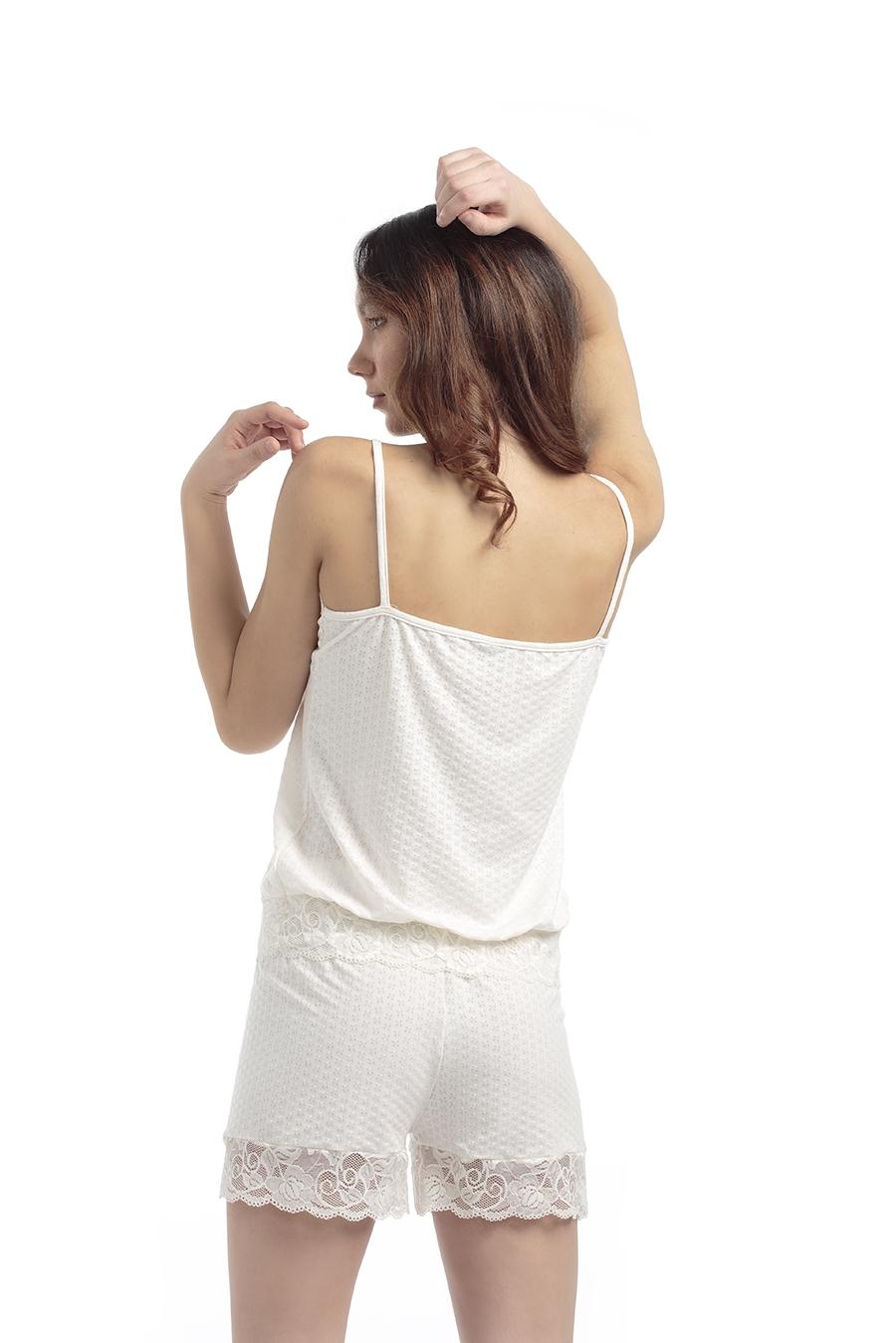 ART. PG04 Pigiama donna corto, canotta spalle strette con pizzo e pantaloncino corto con pizzo in fondo