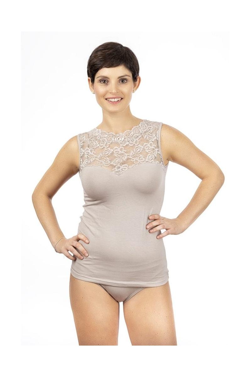Canotta donna spalla larga in cotone modal, spalla e top in pizzo con forma cuore sul seno