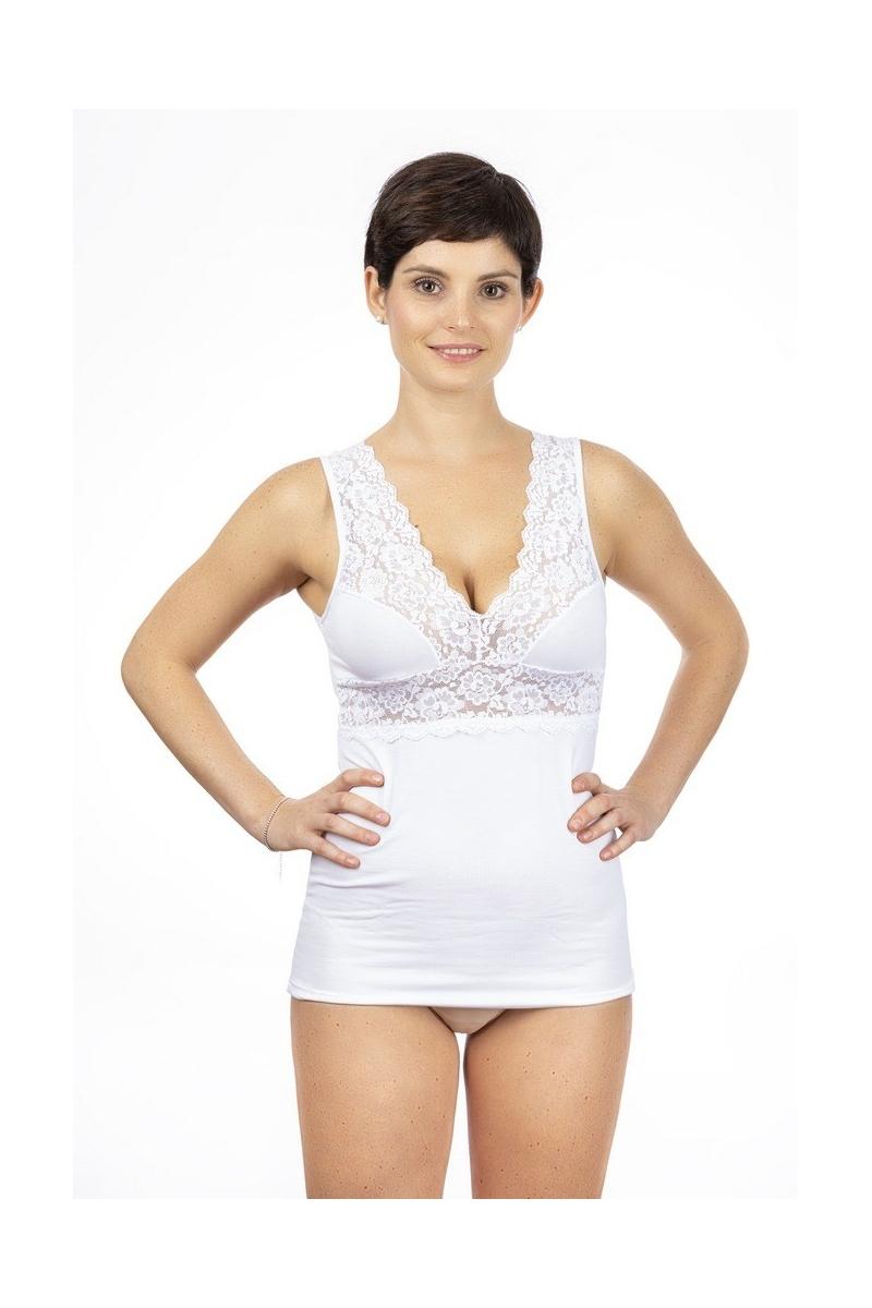 Canotta donna spalla larga in cotone modal, spalla e top in pizzo con seno preformato